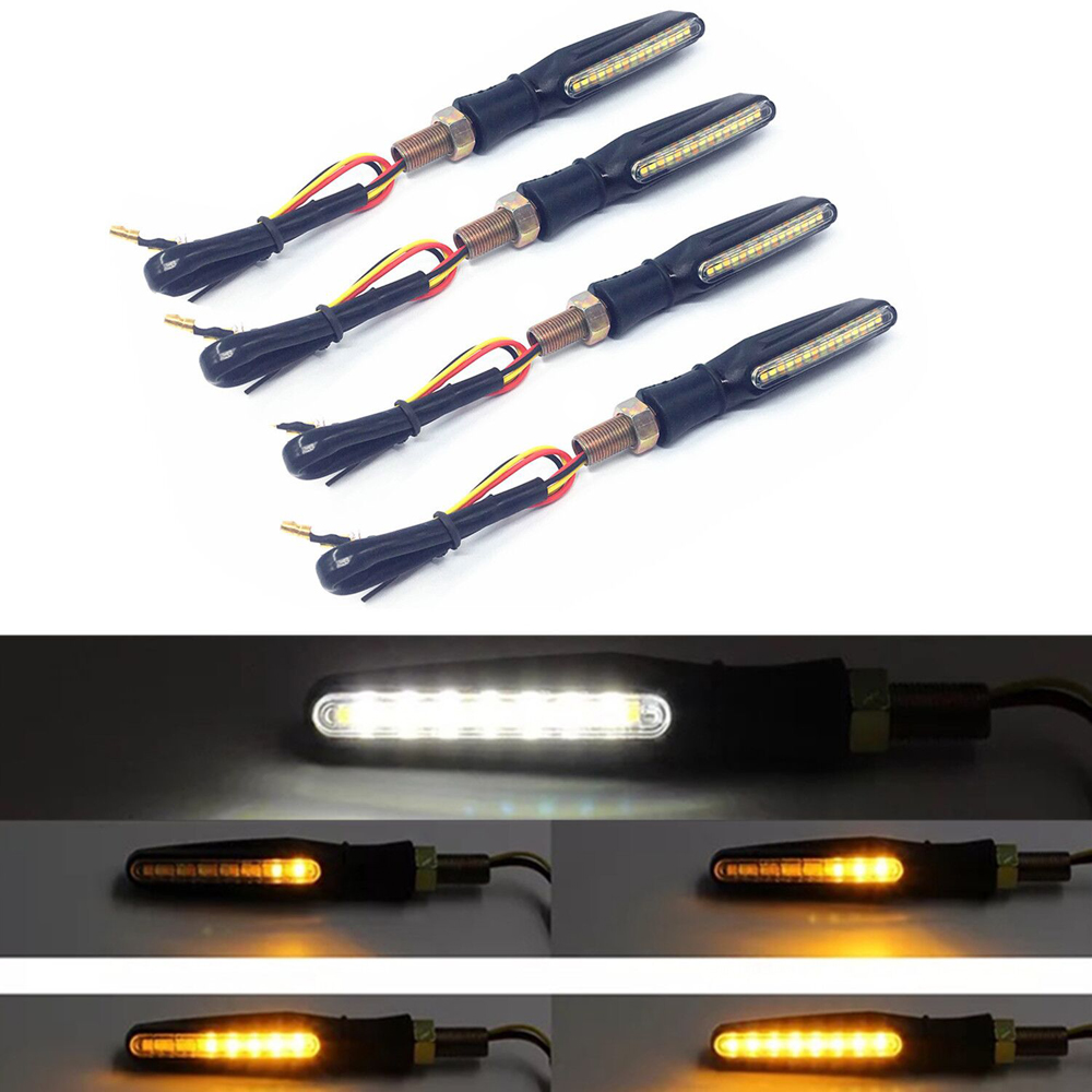 4pcs Motorcycle 12LED Flowing water mode signal turn signal lamp LED Flasher strip Bendable Amber light lamp