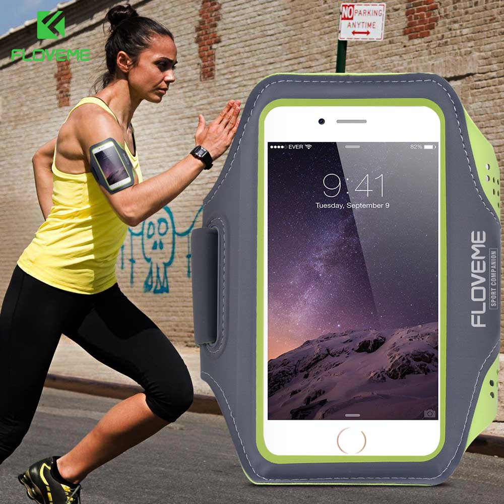 FLOVEME 5.5 Men Women Sport Armband For iPhone 6 6S Plus Clear Touch Screen Waterproof Sport Arm Band For Samsung Galaxy S6 S7