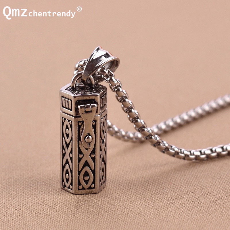 Titanium Vintage Ash Box Pendant Jewelry Pet Urn Cremation Memorial Keepsake Openable Put In Ashes Holder Capsule Chain Necklace klh9359 dog tag stype my fur angel pet urn necklace for ashes memorial keepsake cremation pendant funnel gift