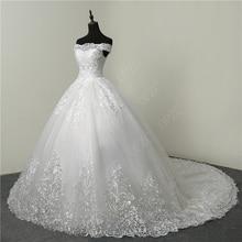30% Discount Luxury Lace Embroidery 2018 Wedding Dresses 100cm Long Train Sweetheart Elegant Plus size Vestido De Noiva Bride
