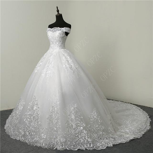 30% Discount Luxury Lace Embroidery 2020 Wedding Dresses 100cm Long Train Sweetheart Elegant Plus size Vestido De Noiva Bride 3