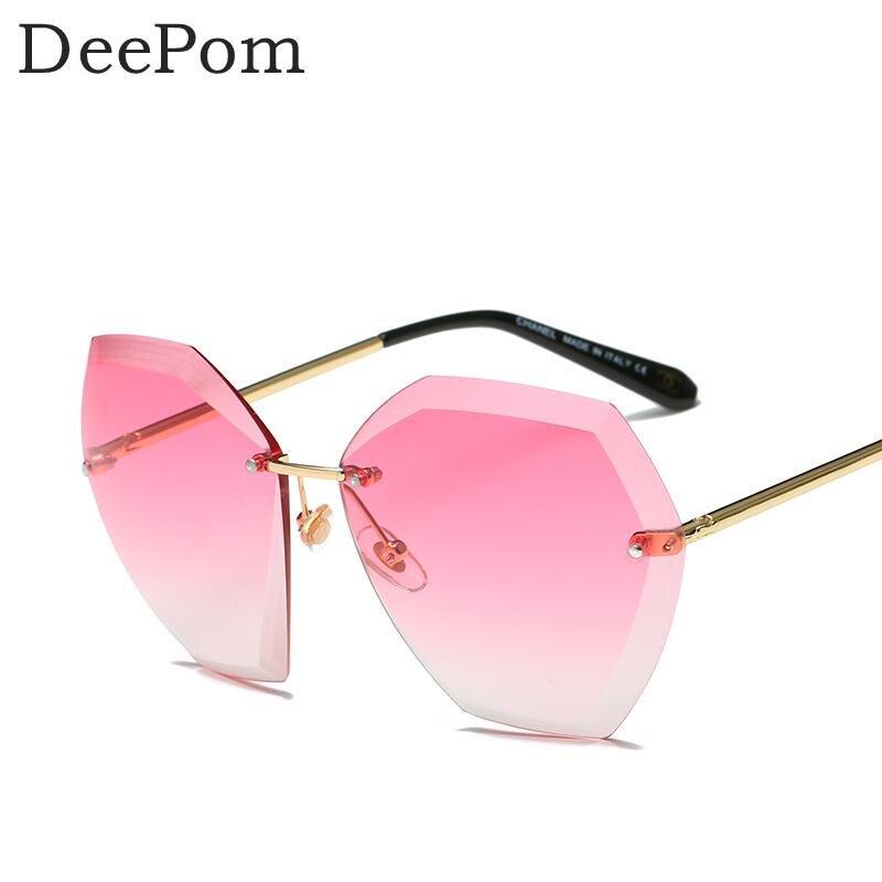 Deepom óculos de Sol Das Mulheres Designer De Marca Óculos de Sol Gradiente  Óculos Senhoras Polígono Sem Aro de Óculos De Sol Feminino Oculos Lunette  Óculos ... d461120be5