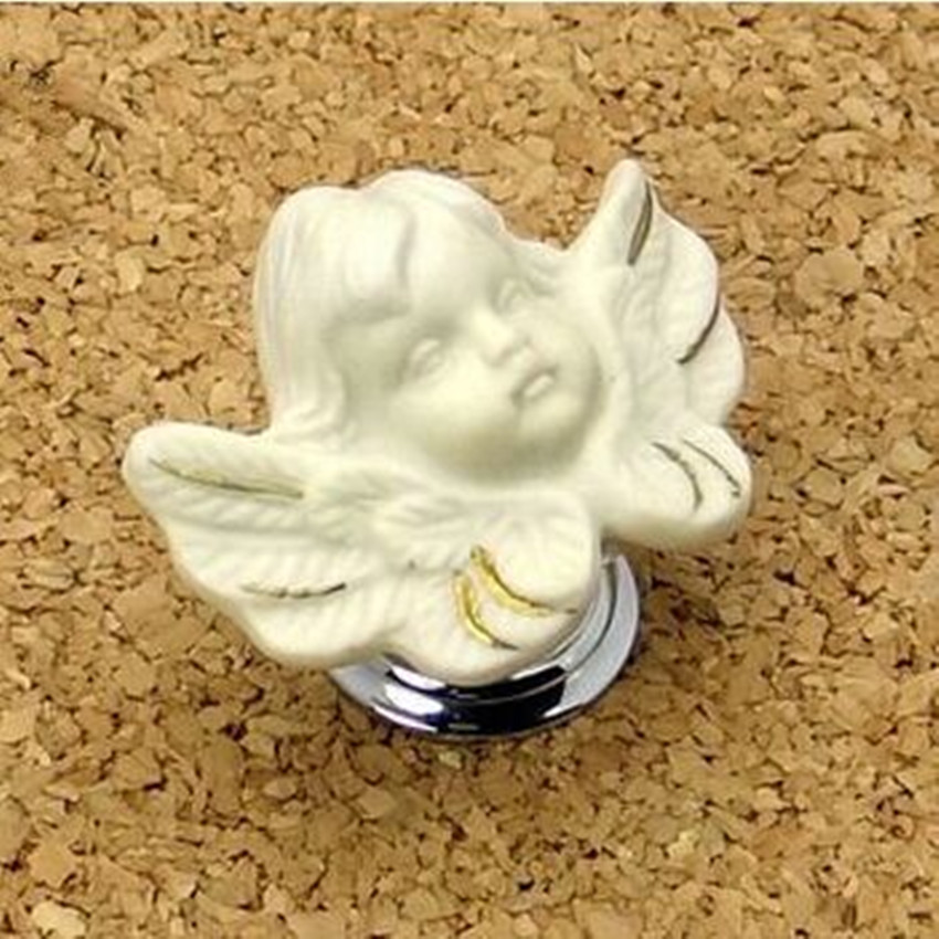 где купить Copper knobs ceramic brass knob top quality creative angel kids knob fashion cartoon drawer cabinet pull silver chrome handle по лучшей цене