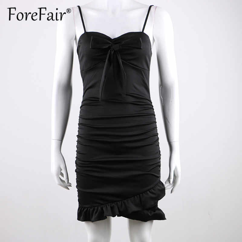 447519e9992e8 Forefair Ruffle Hem Spaghetti Strap Summer Dress 2018 Women Front Bow Tie  Sexy Bodycon Dress Ladies Backless Mini Party Dresses