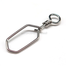100pcs/lot Fishing accessories snap swivel Stainless Steel square Fishing snap Safety Connector fishing Tackle