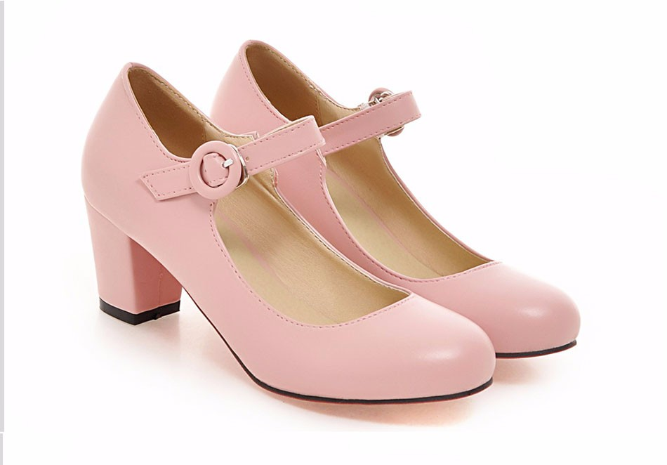 Meotina Women Shoes Mary Jane Ladies High Heels White Wedding Shoes Thick Heel Pumps Lady Shoes Black Pink Beige Plus Size 43 10 4
