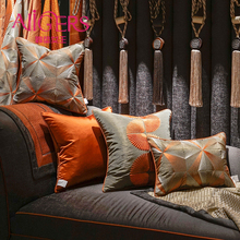Avigers Luxury Home Decorative Orange Gray Cushion Covers Embroidery Throw Pillow Cases Square Customized 45 x 50 50cm