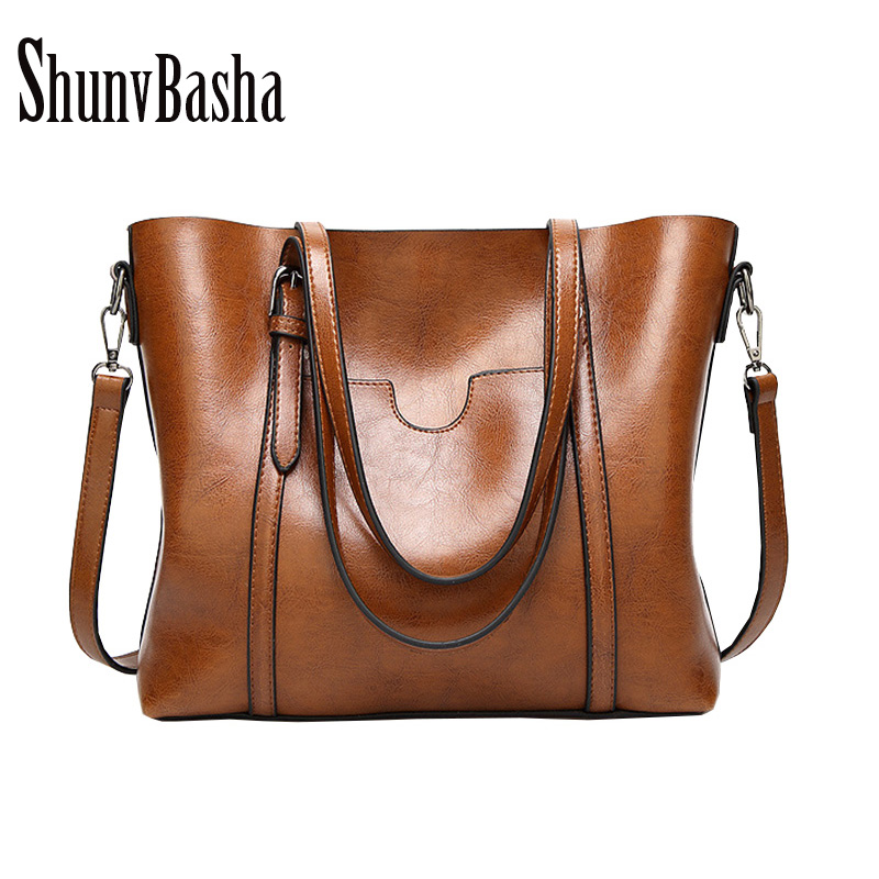 ShunvBasha 2018 Women Leather Handbags Lady Large Tote Bag Female Pu Shoulder Bags Bolsas Femininas Sac A Main Brown Black Red handbags women trapeze bolsas femininas sac lovely monkey pendant star sequins embroidery pearls bags pink black shoulder bag