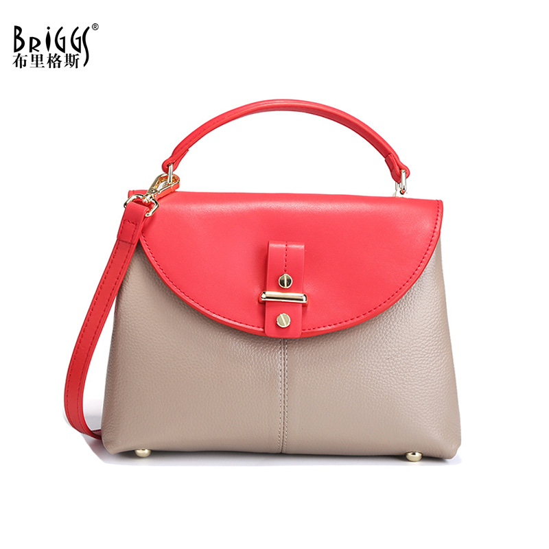 BRIGGS Genuine Leather Luxury Handbags Women Bag Designer Famous Brand Female Tote Shoulder Bag Cow Leather Women Messenger Bag 2018 luxury brand trapeze platinum bags designer women cow leather shoulder bag scrub genuine leather messenger bag casual tote