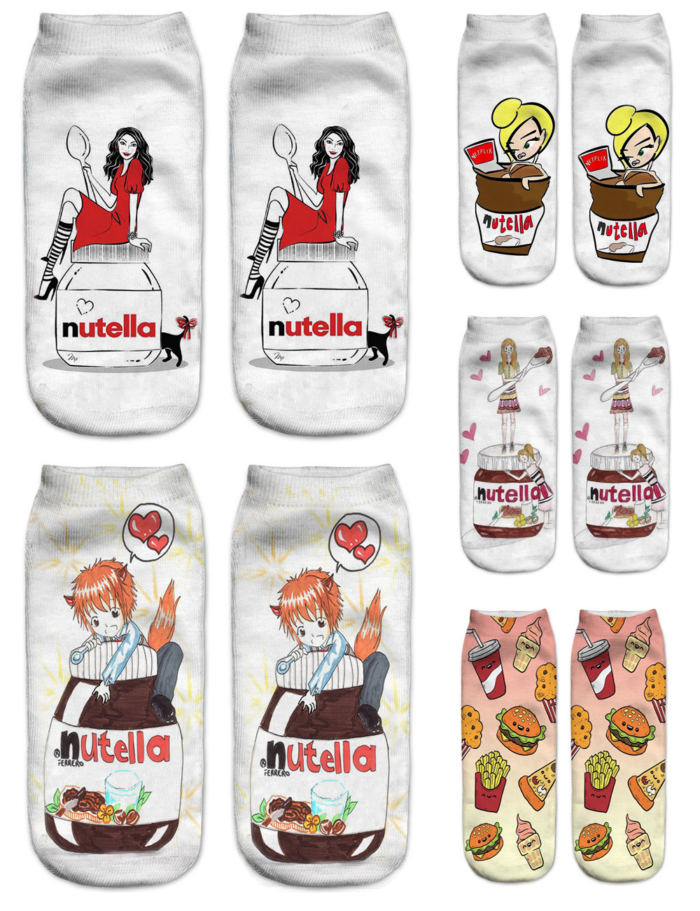Women 3D Printed Short Socks Funny Spring Summer Hot Happy Cotton Fashionable Nutella Pizza Female Casual Ankle Socks
