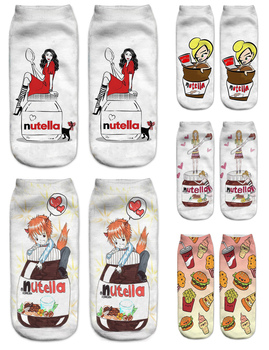 Women 3D Printed Socks Spring Summer Nutella Pizza Funny Short Hot Happy Cotton Fashionable Female Casual Ankle Socks spring and summer flamingo and fox series woman cotton lovely socks painting lady female boat socks short ankle women socks