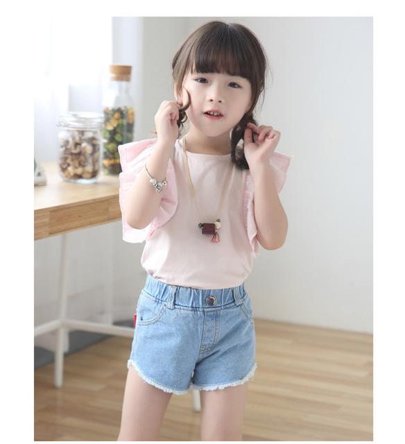 2016 Niños pantalones cortos de verano de las muchachas Coreanas de la borla de la personalidad femenina pantalones cortos de mezclilla cortocircuitos de las muchachas niños
