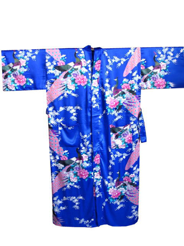 High Quality Blue Chinese Female Nightwear Bride Wedding Robe Printed Kimono  Yukata Bath Gown Size S M L cd01ebb13