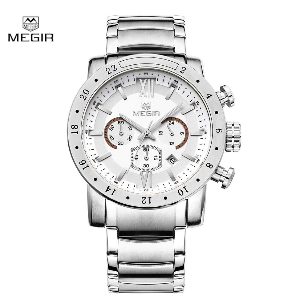 Megir fashion quartz watch for man waterproof luminous wrist watch mens large dial watches 3008 free