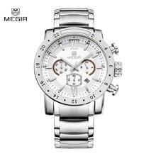 Megir mode quartz montre pour homme imperméable à l'eau lumineux montre-bracelet mens grand cadran montres 3008 livraison gratuite