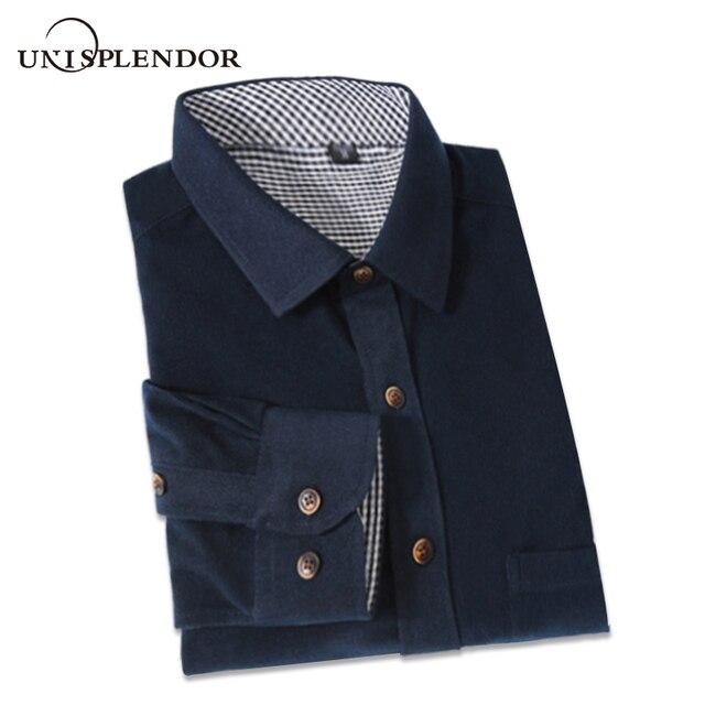 2018 Classic Retro Men Corduroy Solid Color Shirts Long Sleeve Mens Casual Shirt Korean Style Man Fashion Shirts 9 Colors YN727