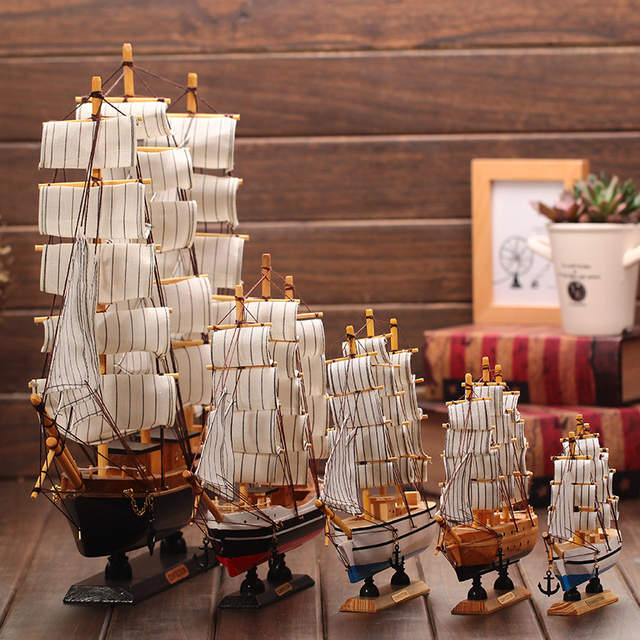 Wooden Ship Model Nautical Decor Home Crafts Figurines Miniatures Marine Blue Sailing Wood Boat Decoration
