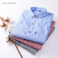 U&SHARK 100% Cotton Classic Plaid Shirt Men Long Sleeve Casual Shirts Slim Fit Autumn Brand Clothing Stylish Male Social Shirt