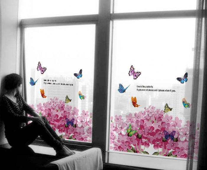 60*58cm Frosted Opaque Butterfly Stained Glass Window Film Colorful Flower Glass Stickers Decorative Bathroom Sliding door