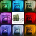 Hot Cube Led Colors Changing Digital Alarm Clock Time Display+Temperature+Date Week Snooze Backlight Lovely Gift Led Cube Clock