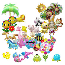 horse cow pig flower frog duck monkey fish theme party birthday decoration supplies children baby kids toys mini balloons