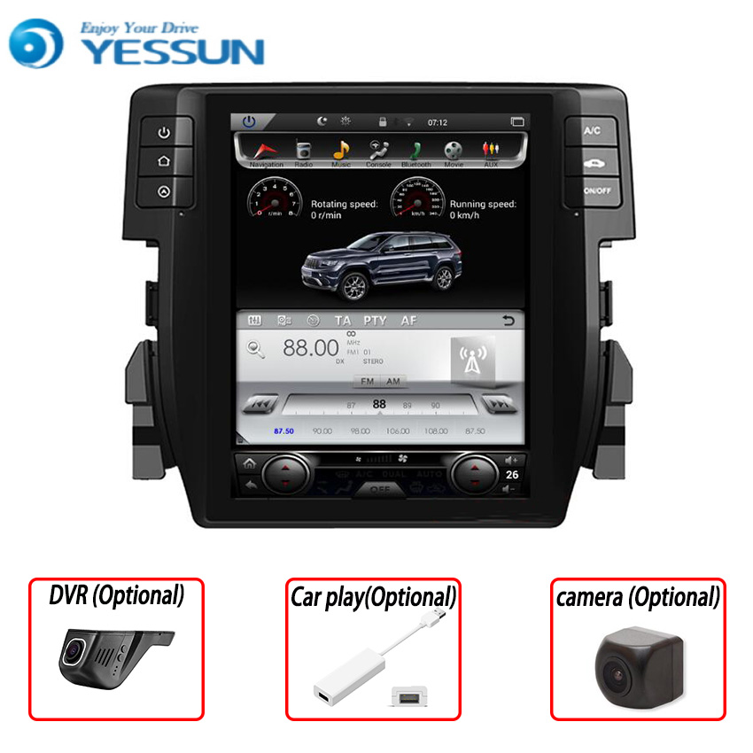Yessun 2din For Honda Civic 2018 Android 6.0 Multimedia Player System Car Radio Stereo GPS Navigation Audio Video