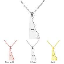 Suteyi personalidade geométrica rosa ouro cor delaware estado colares feminino/masculino eua mapa gargantilha pingente colar com um coração