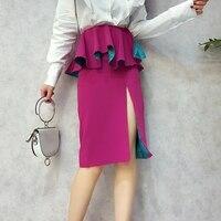 Women Pencil Skirt 2018 Bodycon Bandage High Waist Skirt Zipper Split Short Skirts Womens Fuchsia Black