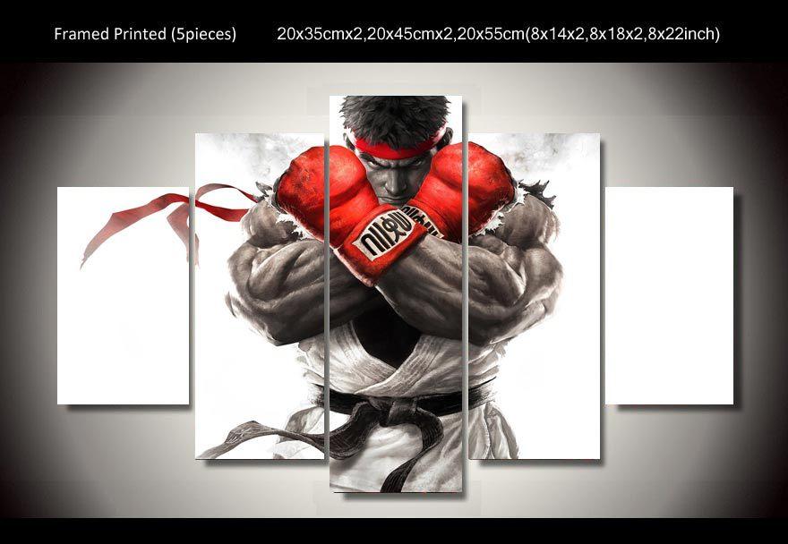 Enmarcado Impresa Juegos De Street Fighter 5 Unidades Pintura Cartel La Lona Arte
