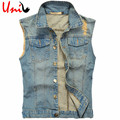 Big Size Mens Denim Vest Holes Washed Jeans 2016 New Fashion Men's Cowboy Sleeveless Jacket Casual Korean Man Tank Top YN747