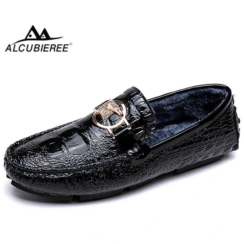 ALCUBIEREE Winter Warme Schoenen Mannen Lederen Mocassins Mannelijke Slip-on Bont Loafers Casual Flats Rijden Boot Schoenen Big Size 48