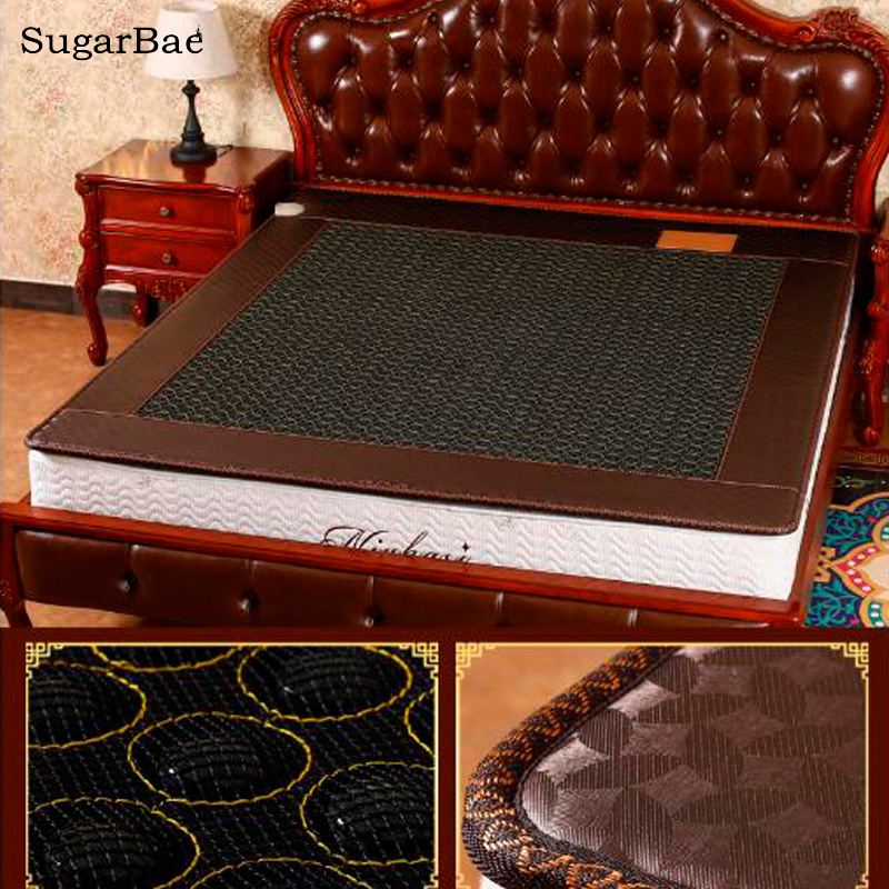 Healthcare Korea Germanium Tourmaline Jade Mattress Electric Heating Therapy Massage Mattress Size 1.0X1.9M/1.2X1.9M Available healthcare jade massage mattress with heating function korea bed cushion 3 size for your choice