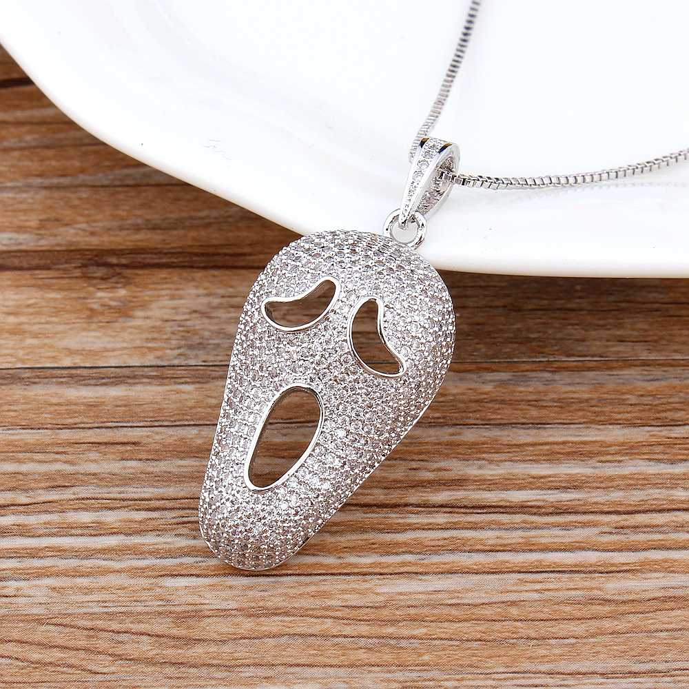 Spersonalizowane niestandardowe Halloween maska czaszka grymas DIY CZ koraliki miedź łańcuchy wisiorki biżuteria mężczyźni kobiety Party gra naszyjnik
