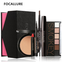 FOCALLURE Makup Tool Kit 6PCS Must Have Cosmetics Including Eyeshadow Lipstick With Pressed Powder Makeup Sets