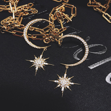 Fashionable moon eight mans star earrings INS European and American super beautiful crescent S925 silver pendant