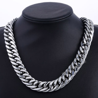 Davieslee 18mm Wide Heavy Cut Double Curb Cuban Link 316L Stainless Steel Necklace Boys Mens Chain