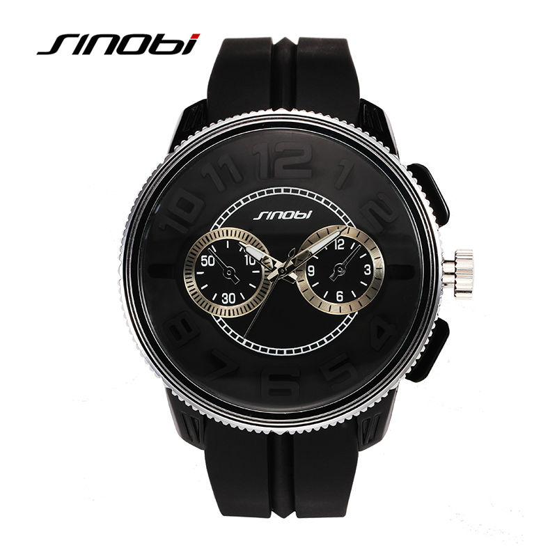 цены  SINOBI Watches Men Luxury Brand New Design Watches 2016 Fashion Relogio Masculino silicone Watch High Quality Quartz Wristwatch