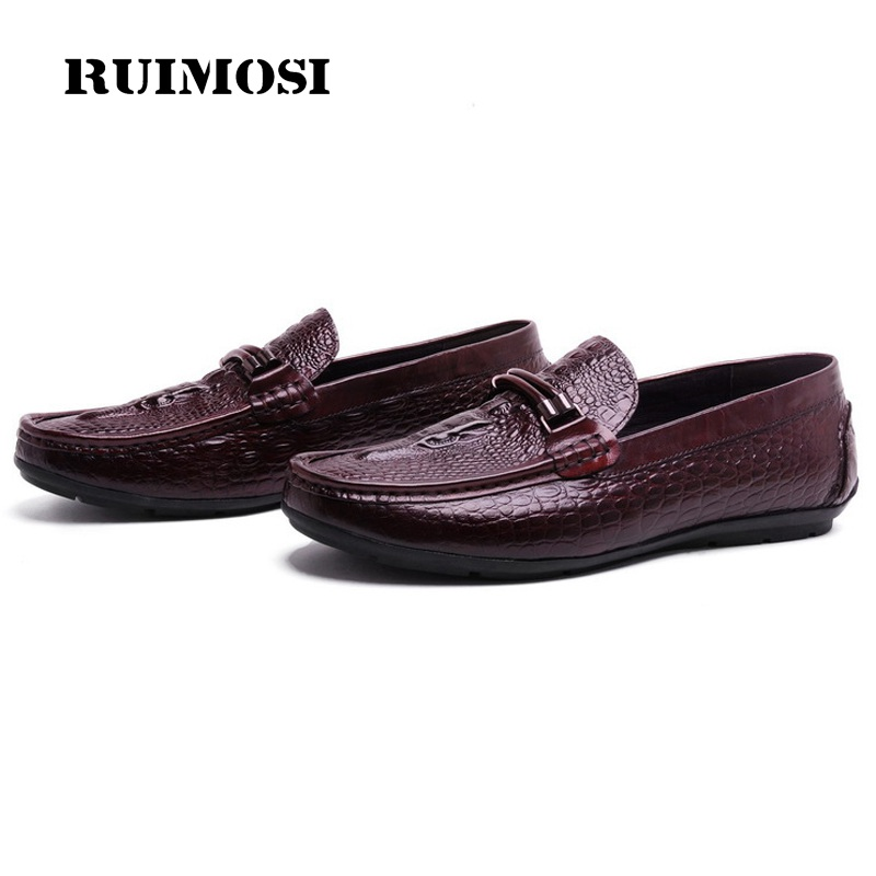 RUIMOSI New Man Flat Heels Tassels Casual Creepers Shoes Genuine Leather Comfortable Loafers Brand Crocodile Men's Footwear OD32