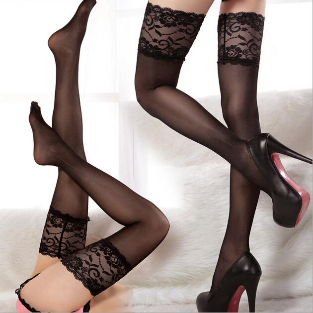 summer style Ultrathin sexy women tights stockings Lace Top Sheer Thighs High Silk Stockings High Quality Pantyhose black,red