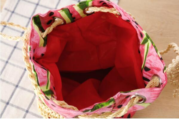 Строка Sackpack соломы лето пляжная сумка Свежие Фрукты арбуз печати Tote Для женщин сумка-мешок холст сумка тканые сумки