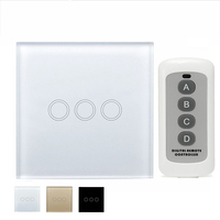 EU UK 3 Gang 1 Way Remote Control Light Switch Crystal Glass Panel Touch Switch Touch