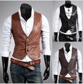 Wholesale 2016 Men's leather PU vest fashion joker blazer suits vests man single breasted slim fit leather waistcoat mens tops