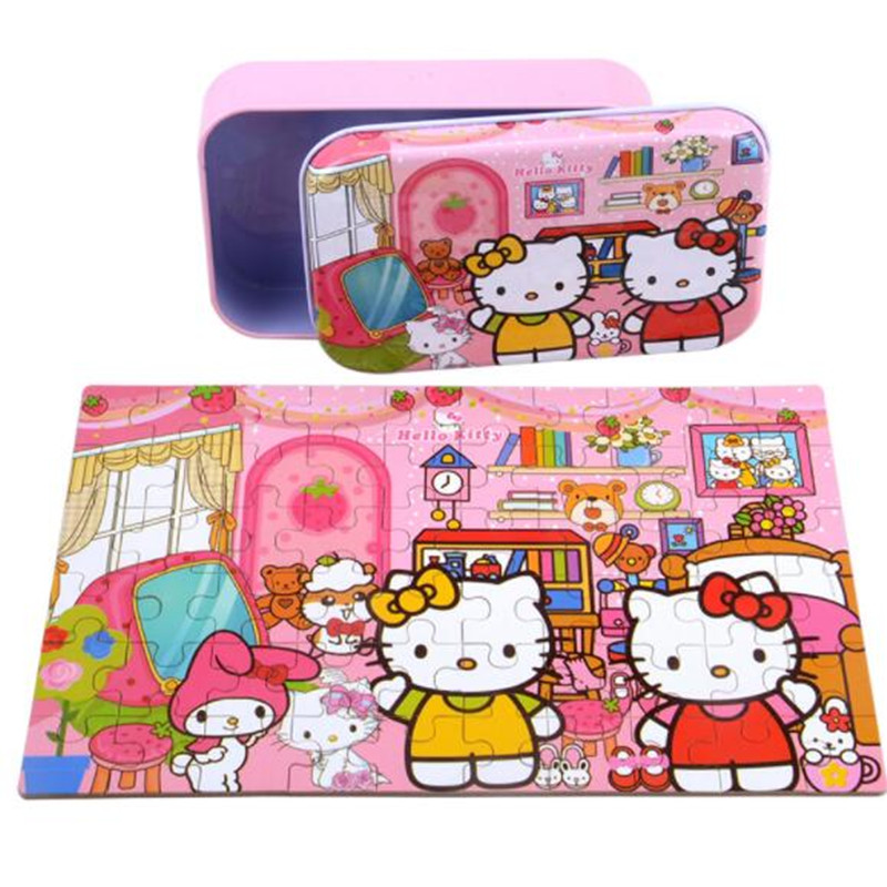 CXZYKING Wooden Toys for Children Hello Kitty Dinosaur Puzzles 60 pieces Iron Box Jigsaw game Puzzles Educational Kids Toys 1000 pieces the wooden puzzles adventure together jigsaw puzzle white card adult children s educational toys