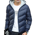 2016 Novos homens da Moda Inverno Quente Jaqueta Com Capuz Fino Casaco Casuais Algodão-acolchoado Jacket Parka Casaco Moletom Com Capuz de Espessura casaco