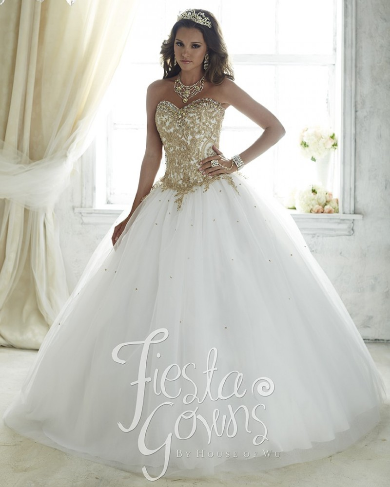 Goled with White Sweet 16 Dresses | Dress images
