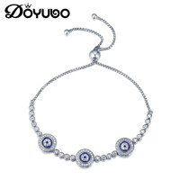 DOYUBO European Style Blue Eyes Silver Bracelets For Mother's Gift Solid Pure Silver Bangles For Women Fashion Accessories AE017