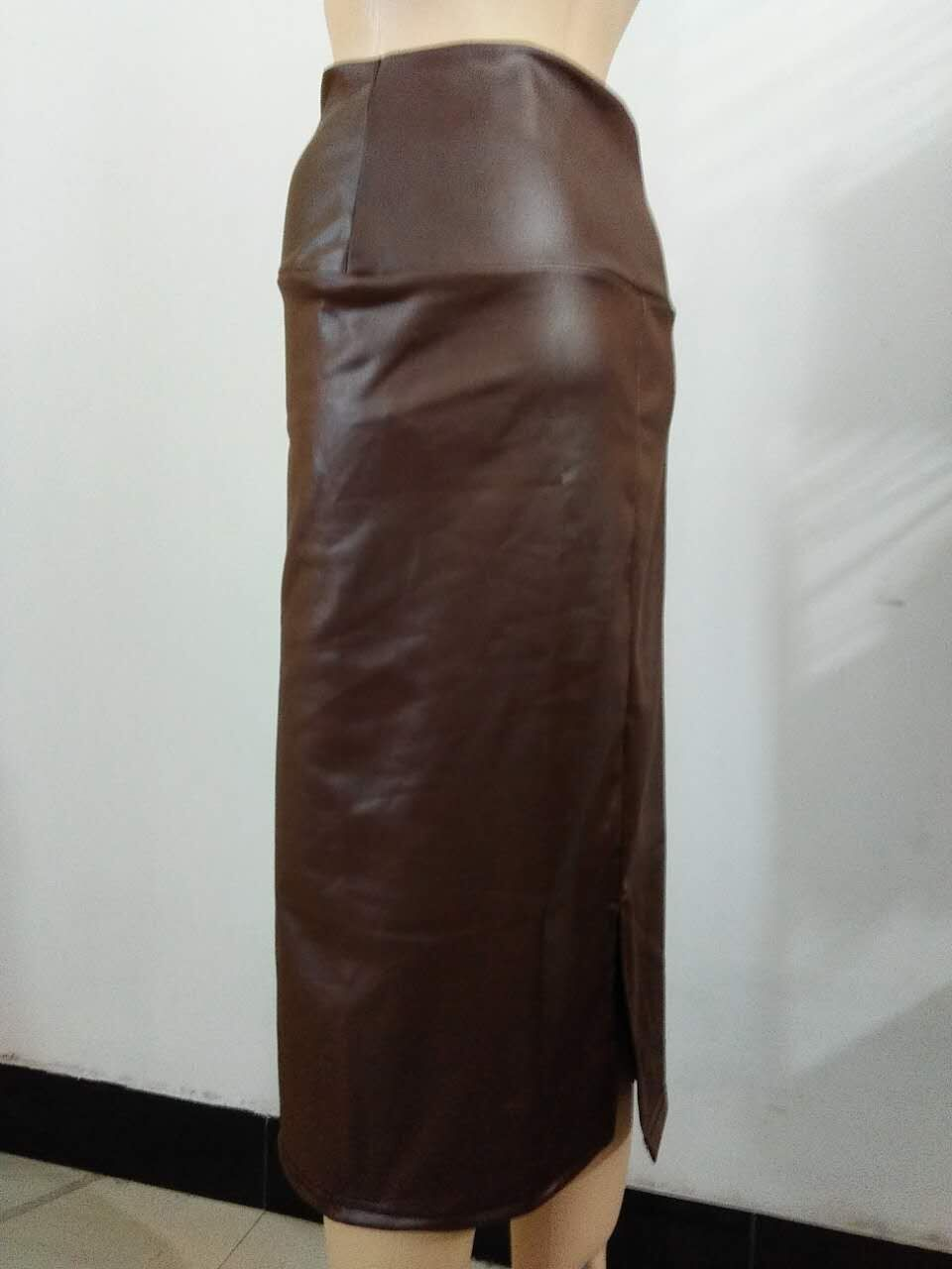 e8688042818 Bohocotol 2018 summer women plus size high waist faux leather pencil skirt  black leather skirt S M L XXXL free shipping-in Skirts from Women s  Clothing on ...