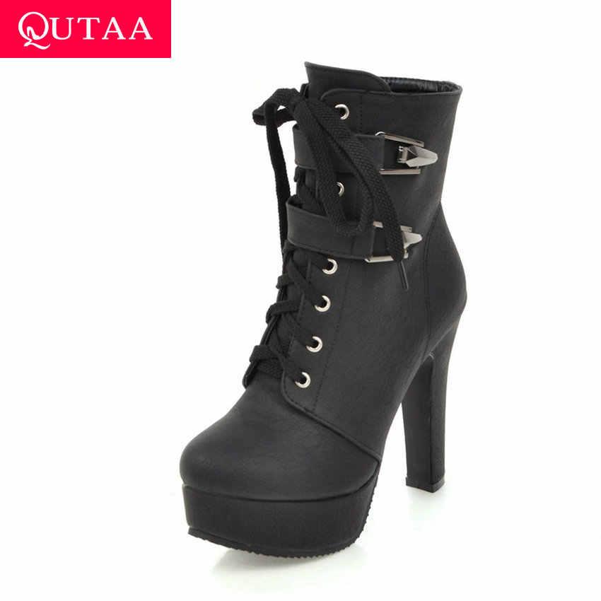 QUTAA 2020 Seksi Süper Yüksek Topuk Sıcak Kürk Kış Ayakkabı Platformu Fermuar Çizmeler Moda Metal Dekorasyon Kadın yarım çizmeler Size34-43