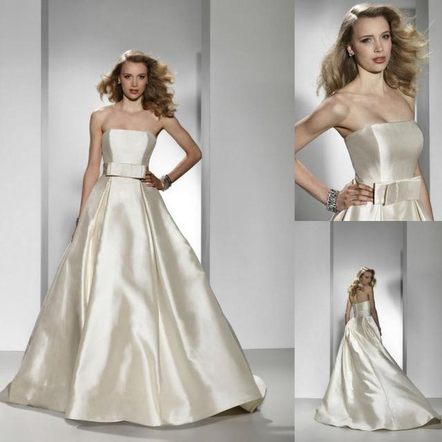 sexy wedding dress 2016 designer spring designer discount wedding dresses strapless a line satin bow ivory