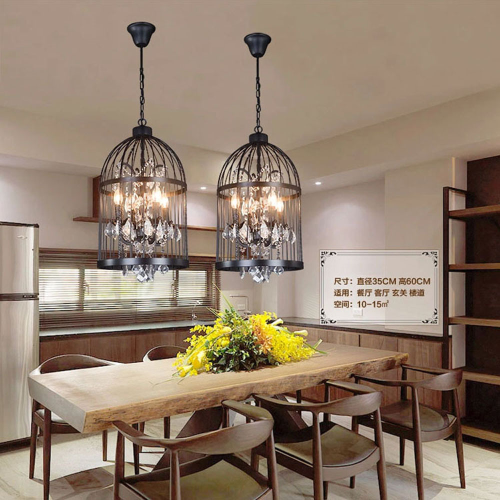 Iron personality bird cage bedroom living room restaurant iron personality bird cage bedroom living room restaurant chandeliers retro creative crystal bird cage chandelier ac110v ac220v in pendant lights from arubaitofo Images